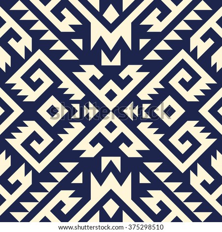 tribal Navajo vector seamless pattern. aztec fancy abstract geometric art print. ethnic hipster backdrop. Wallpaper, cloth design, fabric, paper, cover, textile design template. - stock vector
