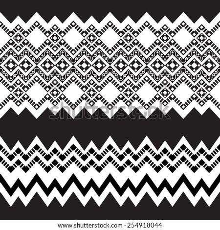 Tribal ornamental borders. Vector illustration. - stock vector