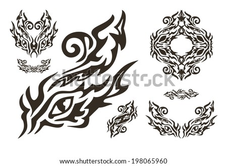 Tribal ornate dragon eye and eyes elements - stock vector