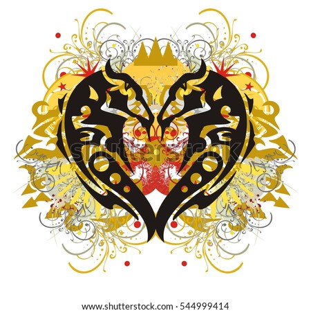 Tribal ornate heart splashes with a crown. Grunge heart formed by the unusual horse heads with circles, gold arrows and floral elements