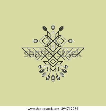 Tribal Owl Symbol. Ornate owl symbol in tribal style. Vintage Decoration Element. Line Art Design. Calligraphic Element. Geometric Style. Owl Icon. Outline Style. Abstract Emblem. Lineart Illustration - stock vector