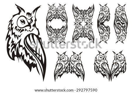 Tribal Owl Tattoo Design Black And White Tattoos Of An Owls Frames