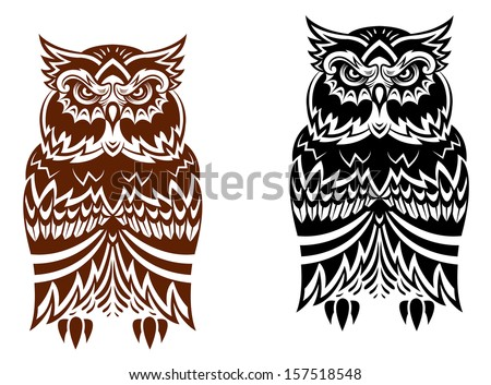 Tribal owl with decorative ornament isolated on white background or idea of logo. Jpeg version also available in gallery - stock vector