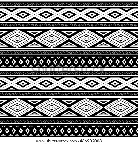 Ethnic Seamless Pattern Aztec Blackwhite Background Stock ...