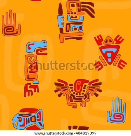 Tribal Pattern Stylized Animals Symbols Stock Vector 484819099