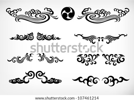 tribal Patterns  Japan calligraphy - stock vector