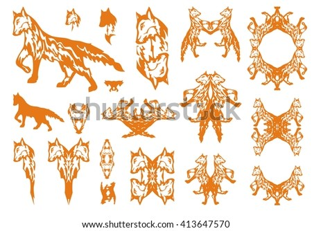 Tribal red fox symbols. Big collection of symbols of the going fox and double symbols, the heads of a fox, a frame and icons of a fox - stock vector