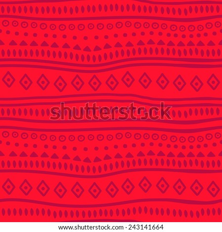 Tribal red vector pattern. Vector illustration. Abstract geometric pattern. Seamless pattern for fabric, paper and other printing and web projects. - stock vector