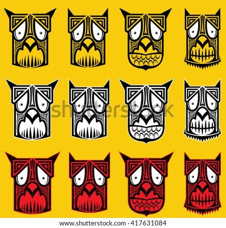 tribal scary halloween skull totem mascot vector illustration - stock vector