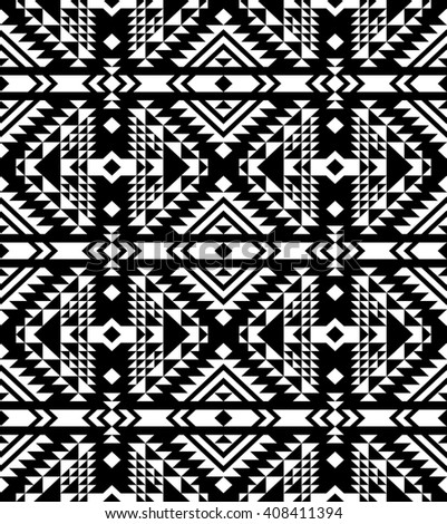 Tribal seamless black and white geometric pattern. Ethnic vector texture.Traditional ornament. - stock vector
