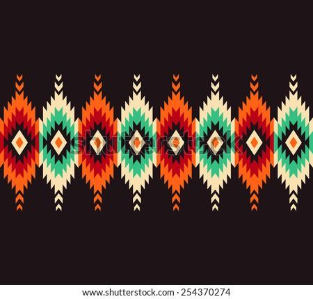Tribal seamless colorful geometric border pattern. - stock vector