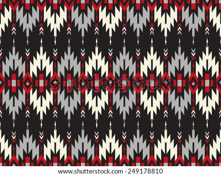 Tribal seamless colorful geometric pattern with indian arrows. - stock vector