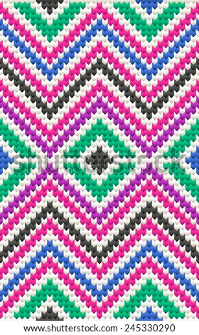 Tribal seamless knitted geometric zigzag wool pattern. - stock vector