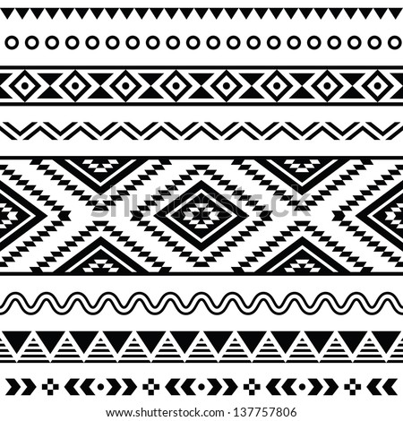 Tribal Seamless Pattern Aztec Black Signs Stock Vector Hd Royalty