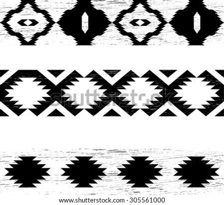 navajo border designs. Contemporary Navajo Tribal Seamless Pattern Collection  Aztec Navajo Black Grunge Border Set  Ethnic Vector In Designs R