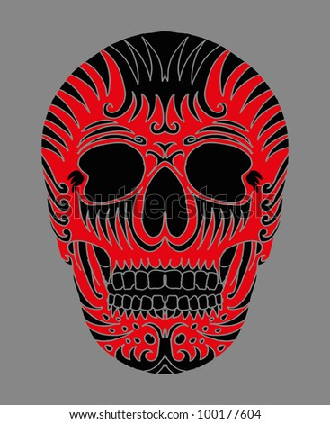tribal skull - stock vector
