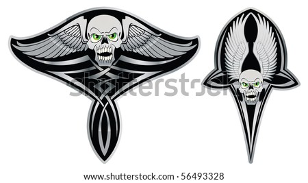 Tribal skull set for tattoo, decoration and design - stock vector