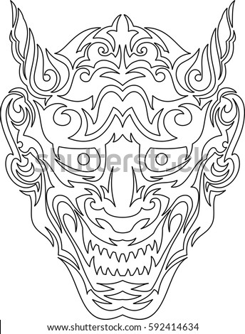 Japanese demon mask drawings sketch coloring page for Kabuki mask template