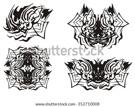 Tribal spider symbols. The spider inspiring fear in a web - stock vector