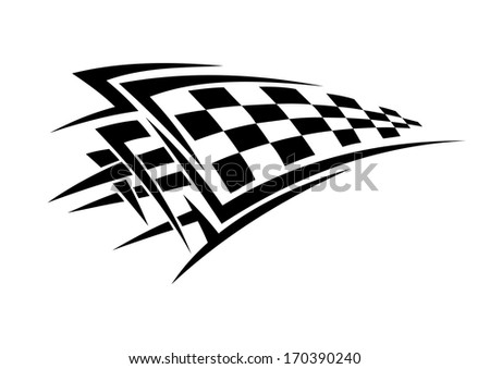 Tribal sport racing tattoo with checkered flag. Rasterized version also available in gallery - stock vector
