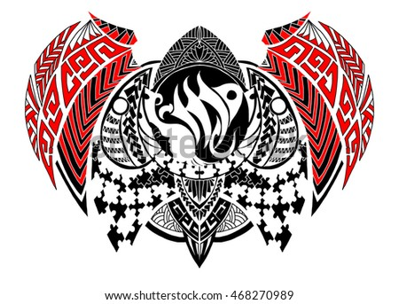 Tribal Style Zodiac Sign Virgo Tattoo Stock Vector 468270989