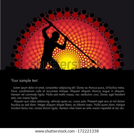 Tribal sunset vector background with a silhouette of a hunter