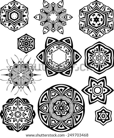 Tribal Tattoo Circular Vector Art - stock vector