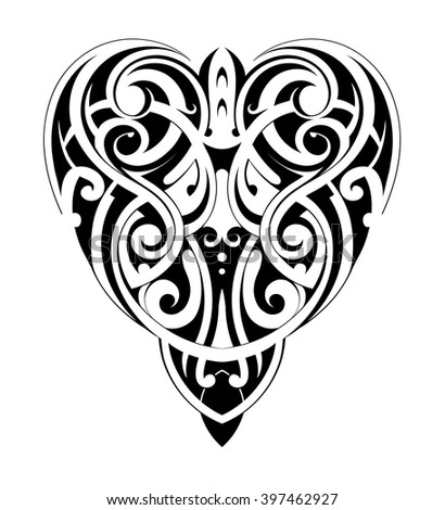 Tribal tattoo heart shape