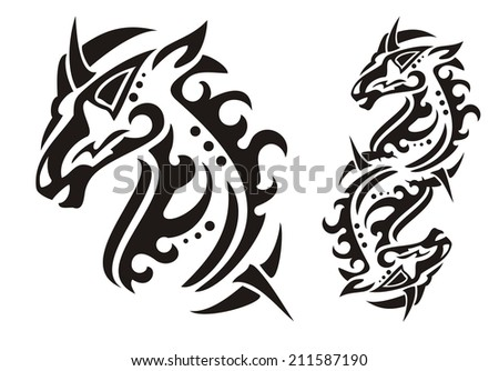 Tribal unicorn head - stock vector