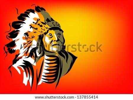 Tribal vector illustration indian man - stock vector