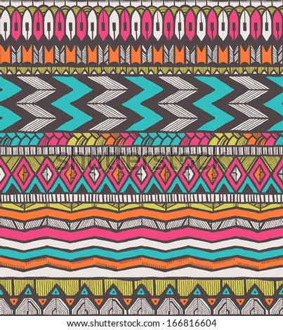 Tribal vector pattern. Seamless hand-drawn background. EPS 10. - stock vector