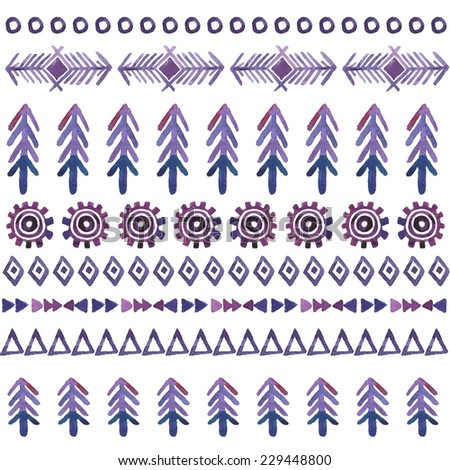 Tribal vector seamless background, watercolor pattern with christmas tree. Aztec geometric background. Hand drawn purple pattern. Vector illustration. - stock vector