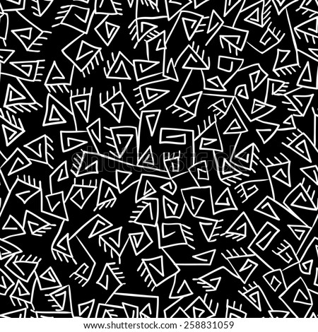 Tribal Vintage Ethnic Pattern Black And White Background Can Be Used For Wallpaper