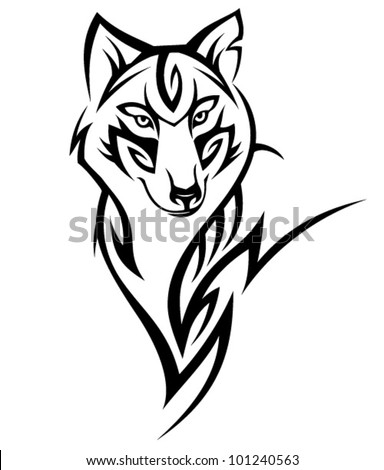 tribal wolf tattoo design stock vector 101240563 shutterstock rh shutterstock com Tribal Wolf Dream Catcher Tattoo Designs beautiful tribal wolf tattoo design by greeneco 94