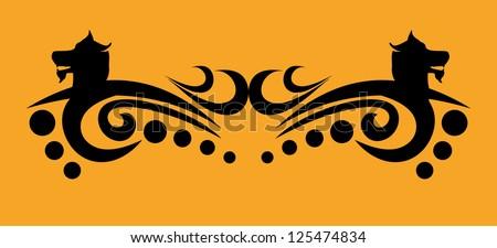 Tribal wolf tattoo Design vector art - stock vector