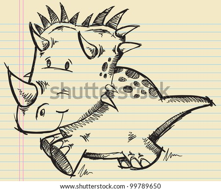 Triceratops Dinosaur Doodle Sketch Vector Illustration - stock vector