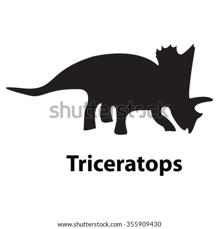 Triceratops dinosaur silhouette vector on transparent background