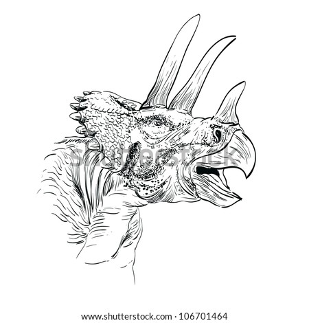 Triceratops Dinosaur Sketch  Vector  Illustration - stock vector