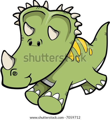 Triceratops Dinosaur Vector Illustration - stock vector
