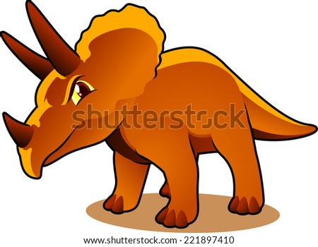 Triceratops extinct dinosaur cartoon vector illustration.  - stock vector