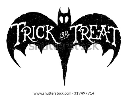 Trick or Treat Bat. Vector of a hand-drawn Halloween greeting on a bat.