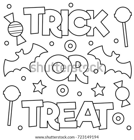 Trick Or Treat Coloring Page Vector Illustration