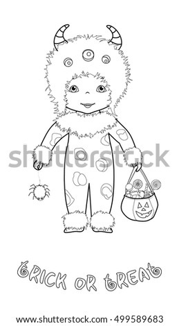 Trick Or Treat Halloween Cartoon Coloring Page With Cute Kid In Monster Costume Spider And