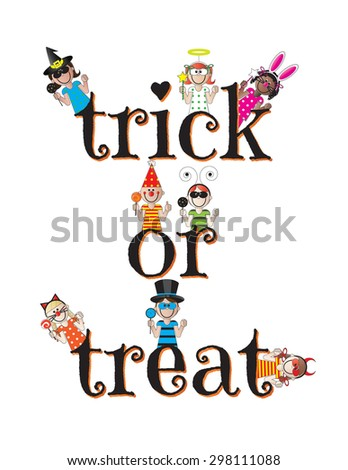 Trick or Treat Halloween Kids on White Background - stock vector