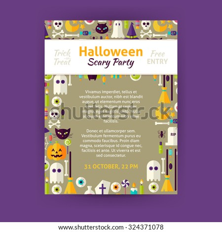 Trick or Treat Halloween Party Invitation Template Flyer. Flat Design Vector Illustration of Brand Identity for Halloween Promotion. Trick or Treat Colorful Pattern for Advertising - stock vector