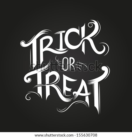 Trick or Treat Halloween poster design with hand drawn elements. - stock vector