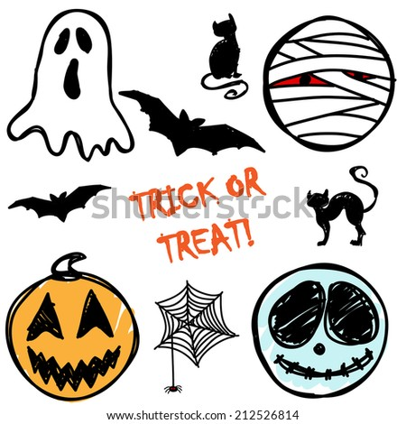 Trick or Treat! Hand-drawn Halloween Icons - vector EPS10 - stock vector