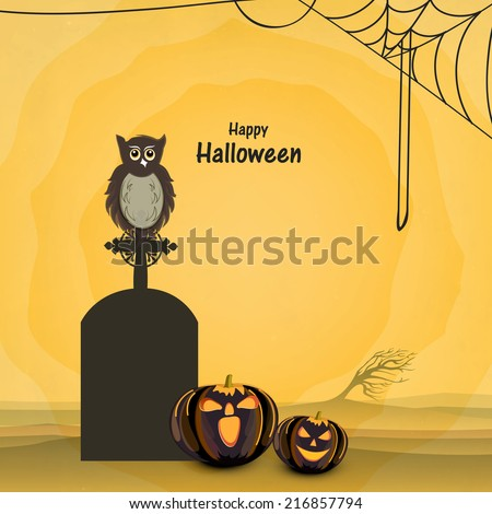 Trick or Treat night party concept with little owl sitting on grave stone, scary pumpkins and spider web on shiny yellow background.  - stock vector