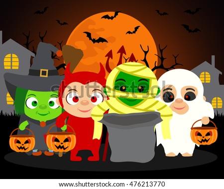 Trick or Treat ,vector Halloween background with kids in Halloween costume