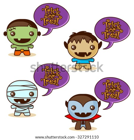 Trick or Treat with cute Halloween monsters - stock vector